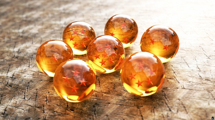 stars, reflection, ball, yellow, crystal, 3D, Dragon Ball, wooden surface, Dragon Ball Z, digital art