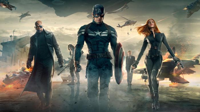 bucky barnes, chris evans, Captain America, samuel l. jackson, Scarlett Johansson, nick fury, Black Widow, captain america the winter soldier