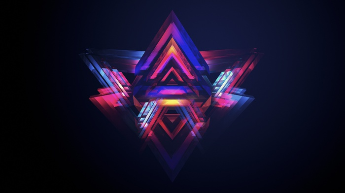abstract, facets, dark, geometry, Justin Maller, black background, digital art