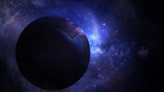 космос, Терра, планета мрака, фиолетовая планета