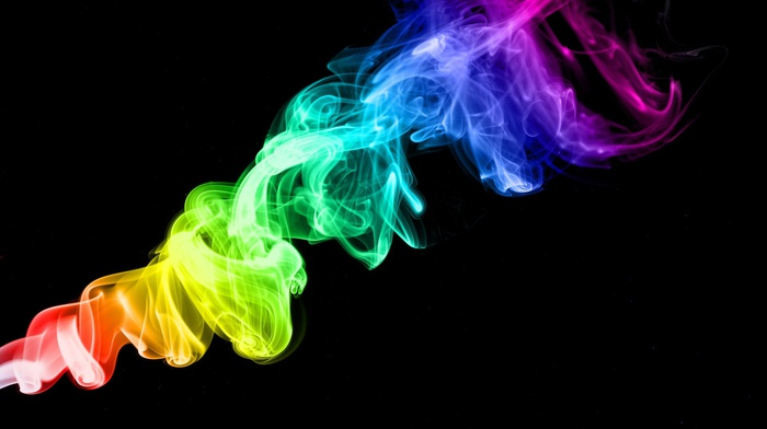 smoke, colorful, abstract, black background