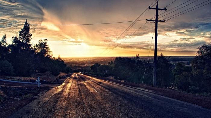 sunset, asphalt, trees, road, photo manipulation, HDR, clouds