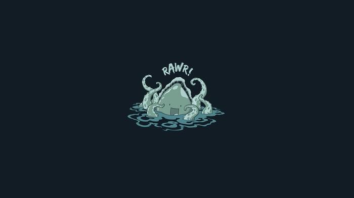 Kraken, minimalism, simple, threadless, smiling, blue, sea