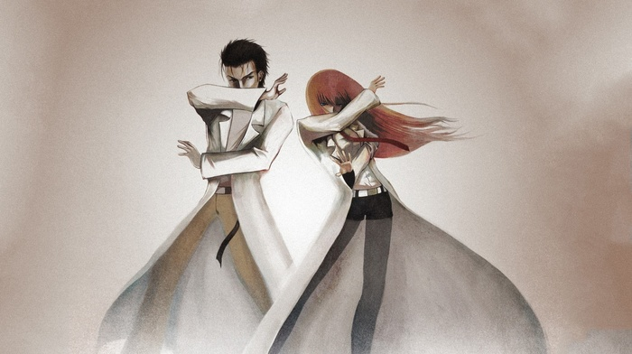 anime, Okabe Rintarou, anime girls, Makise Kurisu, anime boys, lab coats, steinsgate