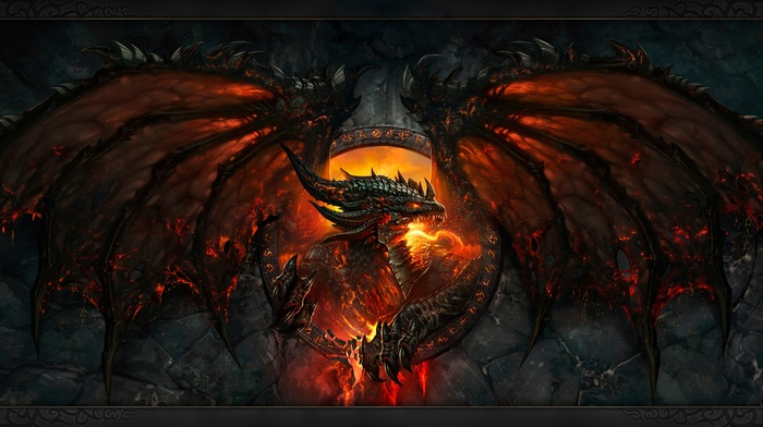 teeth, face, dragon, Deathwing, World of Warcraft Cataclysm, Blizzard Entertainment, Dragon Wings, fire, claws, fantasy art, wings, video games, World of Warcraft