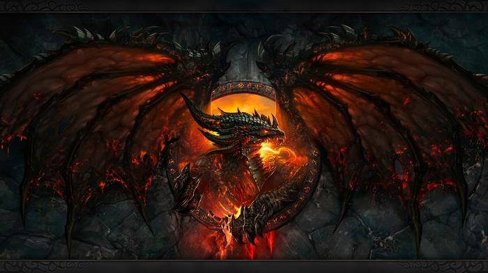 зуб, лицо, дракон, Blizzard Entertainment, огонь, фантастическое исскуство, крылья, игры, World of Warcraft