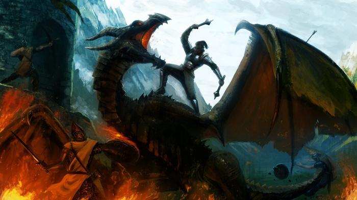 video games, the elder scrolls v skyrim, dragon