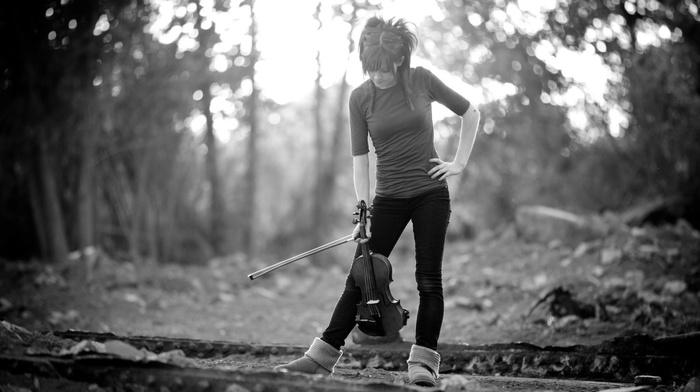 forest, lindsey stirling, girl, musicians, violin, monochrome, ugg boots