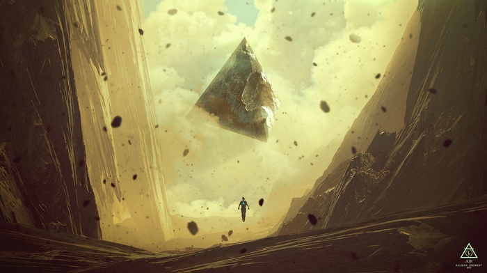 Kuldar Leement, floating, anime, rock, fantasy art, artwork, abstract, mountain, triangle, pyramid, digital art