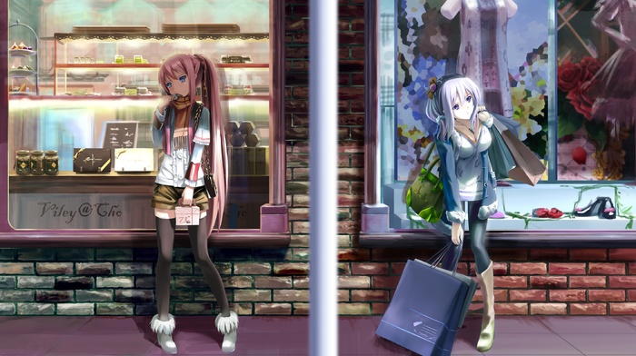 purple hair, purple eyes, original characters, anime, pink hair, long hair, thigh, highs, anime girls, ponytail, blue eyes