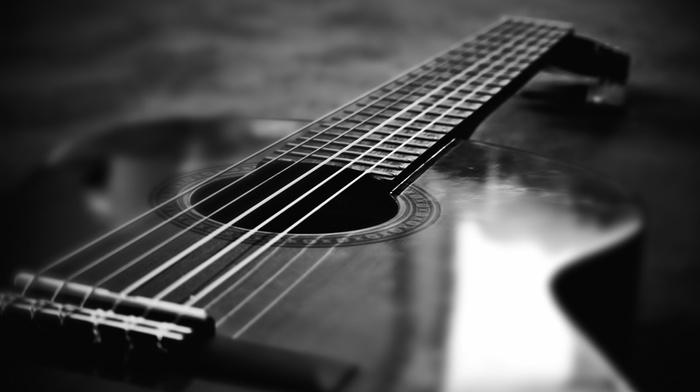 music, monochrome, guitar