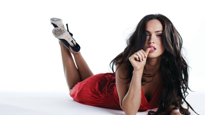 finger in mouth, dress, high heels, brunette, red dress, Megan Fox