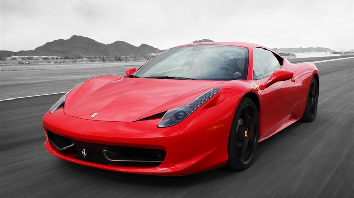 Ferrari, car, red cars, selective coloring, ferrari 458