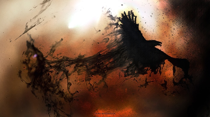 smoke, dark, artwork, crow