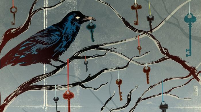 keys, raven, spooky, artwork, crow, trees