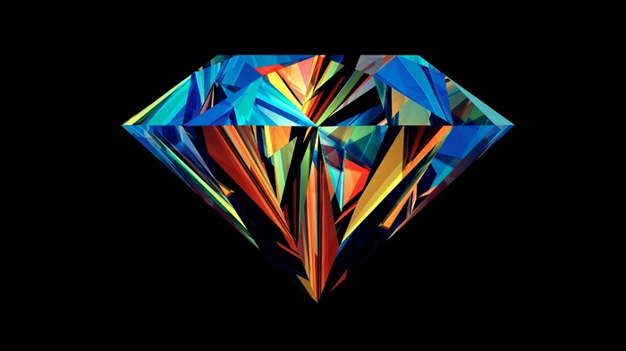diamonds, facets, black background, Justin Maller