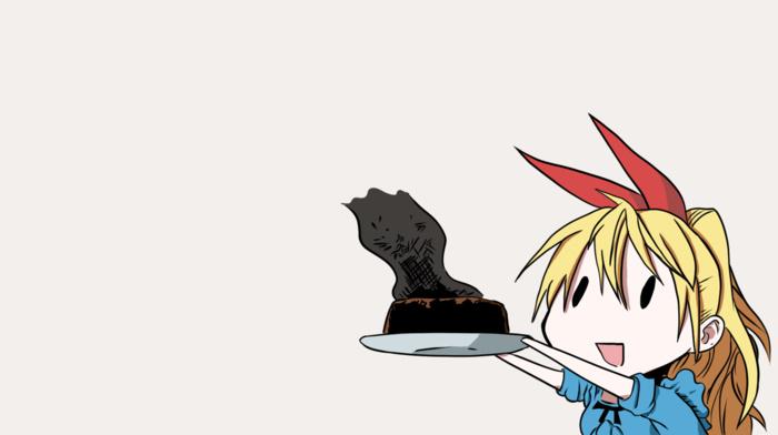 девушки из аниме, украшение для волос, блондинка, аниме, ленточка, длинные волосы, голубые глаза