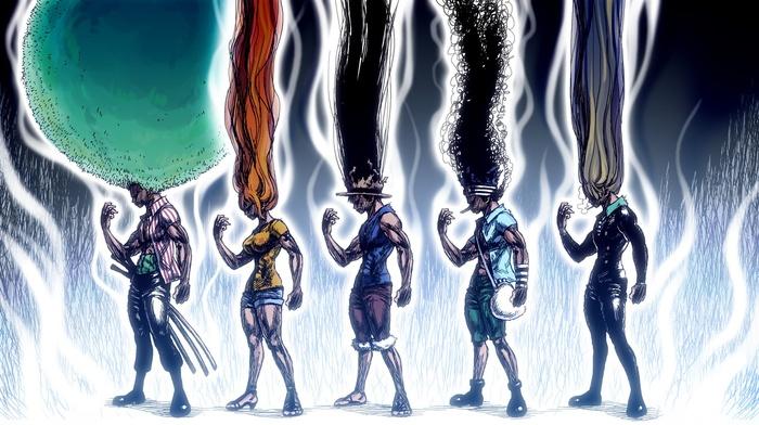 Sanji, One Piece, Roronoa Zoro, Usopp, anime, Monkey D. Luffy, Hunter x Hunter, crossover, Nami