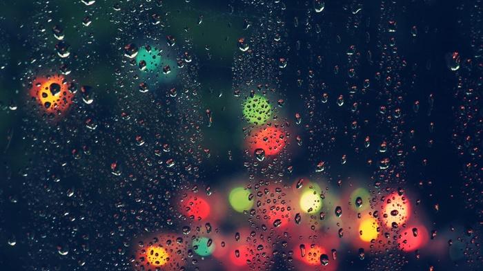 lights, water drops, bokeh, rain, blurred, water on glass, glass, wet, colorful, depth of field