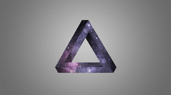 optical illusion, Penrose triangle, stars, space, triangle, abstract