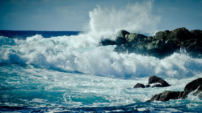 USA, storm, rock, foam, coast, ocean, rocks, waves, wave, drops, nature, sea, splash, water
