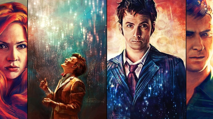 Rory Williams, Amy Pond, Eleventh Doctor, The Doctor, Arthur Darvill, Matt Smith, Tenth Doctor, artwork, Doctor Who, painting, David Tennant, Karen Gillan, alicexz