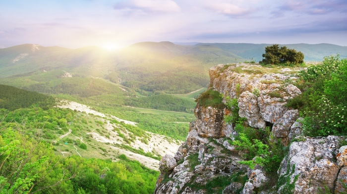 view, forest, clouds, height, valley, sky, trees, rock, nature