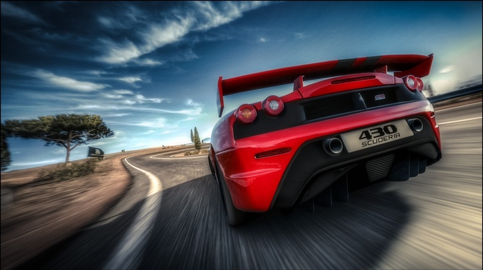 red cars, road, supercars, car, motion blur, Ferrari F430 Scuderia, Ferrari