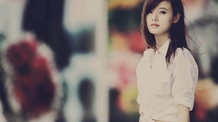 depth of field, girl outdoors, girl, brunette, Asian