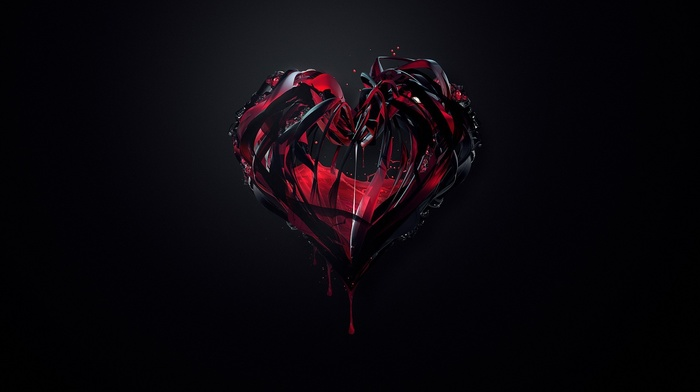 dark, heartbeat, hearts, liquid, digital art, blood, abstract, simple background, anime, Justin Maller, crystal