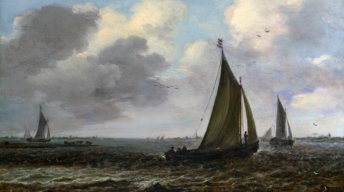 sea, sky, painting, birds, classic art, sailing ships