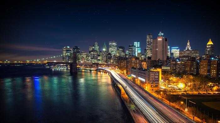 bridge, New York City, light trails, long exposure, city, stars, road, river, lights, cityscape, Brooklyn Bridge, night, USA, West Side Highway, skyscraper