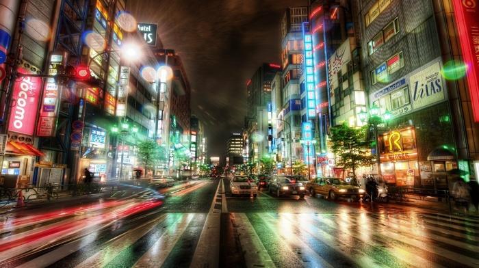 traffic, rain, wet, Tokyo, neon, long exposure, city, road, lights