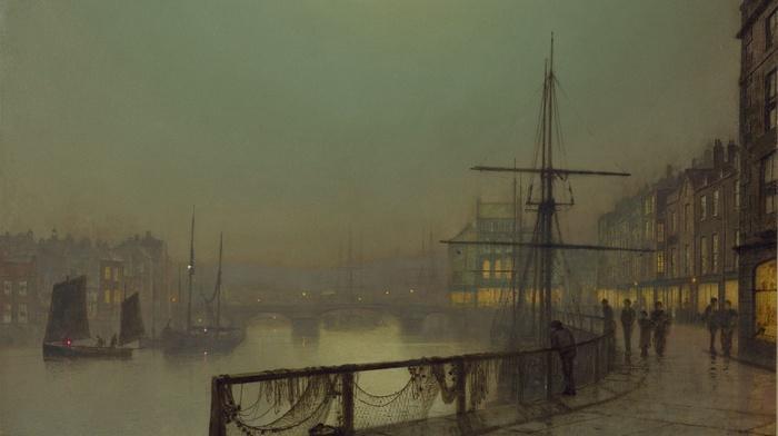 painting, ports, John Atkinson Grimshaw, ship, classic art