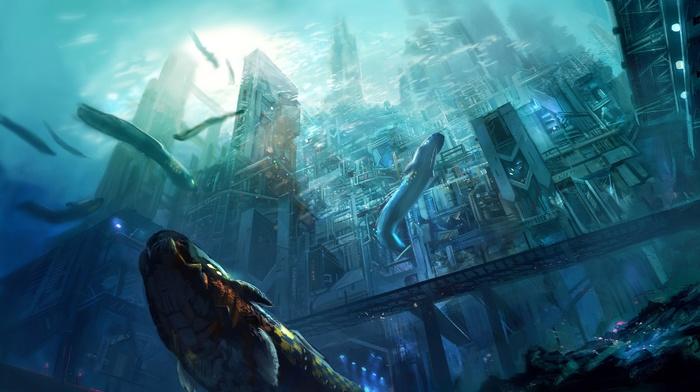 futuristic, city, sea, underwater, artwork, concept art, digital art, fantasy art