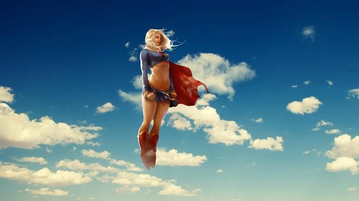Supergirl, clouds, superheroines, sky