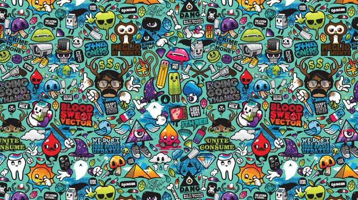 digital art, typography, colorful, pencils, vector art, lips, Jared Nickerson, ice cream, pyramid, triangle, owl