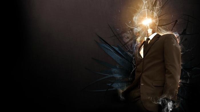 lightbulb, digital art, creativity, photo manipulation, suits