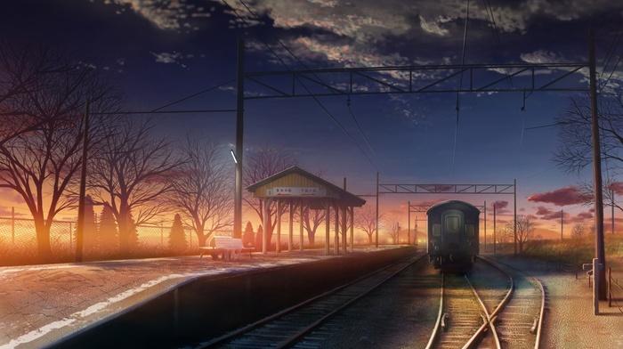 train station, anime, sunset, railway