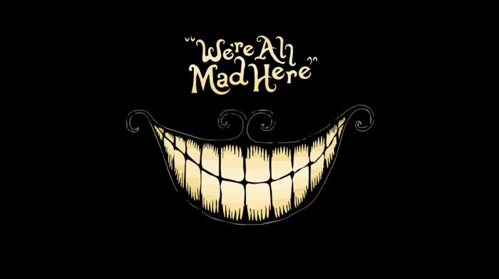minimalism, typography, dark, Alice in Wonderland, quote, black, Cheshire Cat, anime