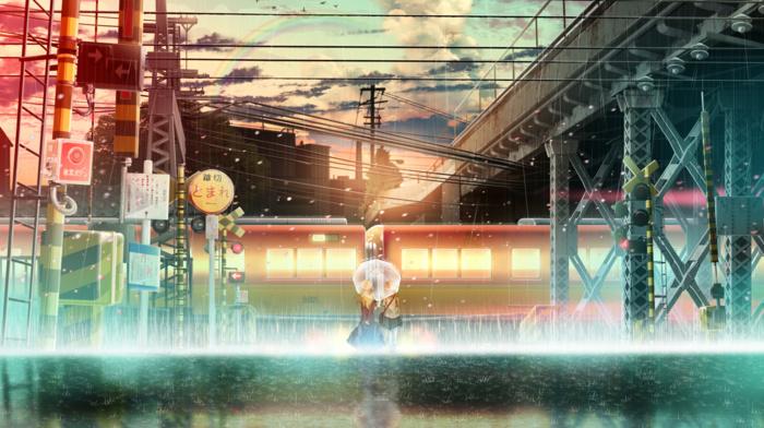 anime girls, train station, anime