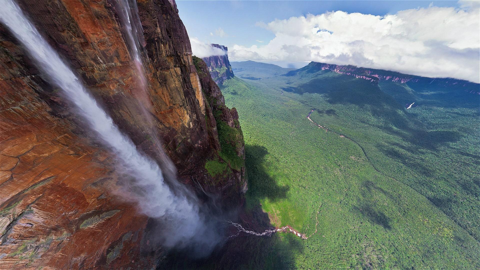 водопад, тропический, облака, каньон, пейзаж