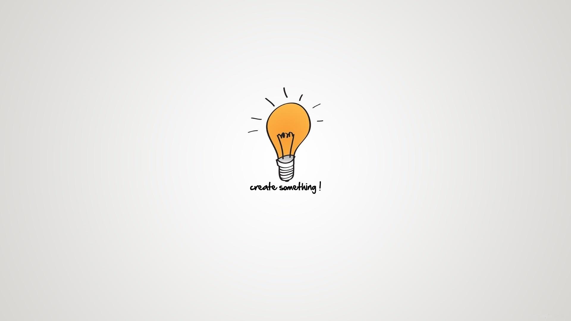 минимализм, надпись, Лампочка, мысли