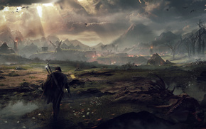 fire, sword, video games, concept art, skeleton, The Lord of the Rings