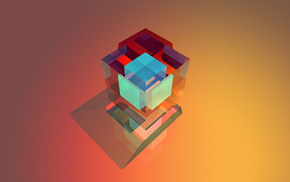 cube, Facets, geometry, abstract, colorful, simple background