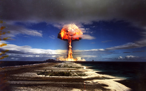bombs, war, military, clear sky, nuclear, mushroom clouds