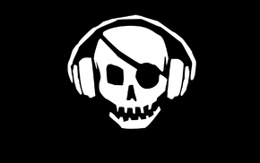 skull, black background, headphones, black, minimalism, eye patch