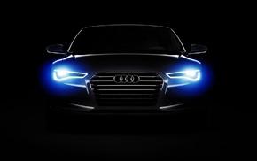 Audi A6, Audi, lights, car, dark