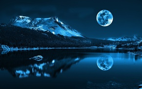 mountain, forest, nature, moon, trees, landscape
