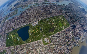 aerial view, urban, city, skyscraper, Central Park, building
